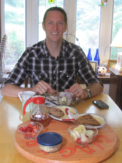 Spencer Pumpelly enjoying his vegan breakfast at the Ginger Cat B&B