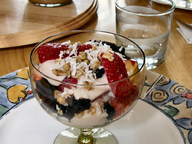 Soy Yoghurt Parfait starts your meal