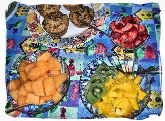 Fresh Fruits and Banana, walnut, chocolate chip muffins