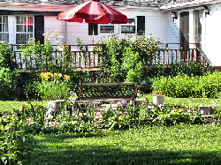 Backyard and Deck at the Ginger Cat B&B in Watkins Glen, NY
